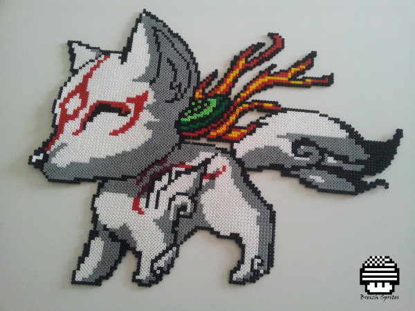 Amateratsu d'Okami en version Pixel Art