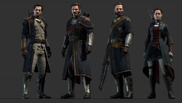De gauche à droite: Marquis de Lafayette, Sir Galahad, Sir Percival, Sir Galahad et Lady Igraine