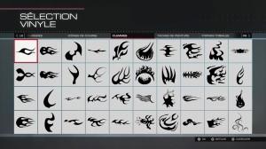 échantillon des nombreux éléments de customisation disponibles