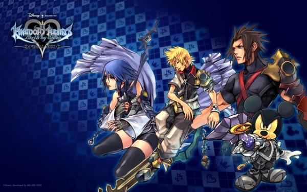 Aqua, Ventus, Terra (et Mickey) de Kingdom Hearts : Birth By Sleep, initialement sorti sur PSP