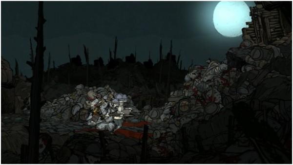 Des montagnes de corps entassés à perte de vue, le héros doit avancer ou mourir.
