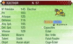 Banque Pokemon - Stats Electhor