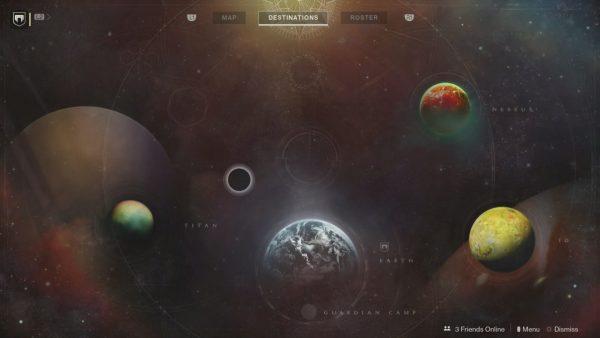 l'écran de choix de destination. On voit la terre, Titan, Io et Nessus