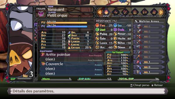 une fiche de personnage de Disgaea 5, avec énormément d'infos